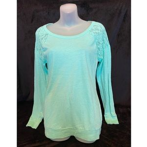 VS PINK Turquoise Long Sleeve with Lace Shoulders